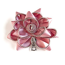Pink Satin Zipper Pin by Kate Cusack (Zippered Brooch)