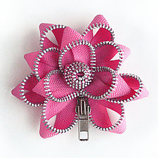 Pink Zipper Pin by Kate Cusack (Zippered Brooch)
