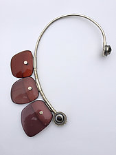 Large Purple Torque Necklace by Nancy Worden (Silver& Acrylic Necklace)