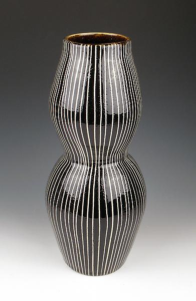 Black And White Striped Vase By Lin Xu Ceramic Vase Artful Home