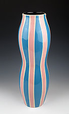 Vase with Blue and Pink Stripes by Lin Xu (Ceramic Vase)