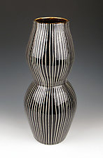 Black and White Striped Vase by Lin Xu (Ceramic Vase)