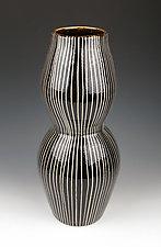 Black and White Striped Vase by Lin Xu (Ceramic Vase)