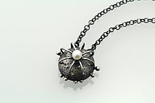 Small Round Cactus Necklace by Sooyoung Kim (Silver & Pearl Necklace)