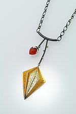 Geometric Lantern Plant Necklace by Sooyoung Kim (Gold, Silver & Stone Necklace)
