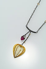 Lantern Plant Fuchsia Necklace by Sooyoung Kim (Gold, Silver & Stone Necklace)