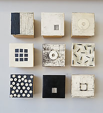 Geometry in Black and White by Lori Katz (Ceramic Wall Sculpture)