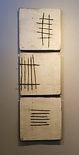 White with Wire by Lori Katz (Ceramic Wall Sculpture)