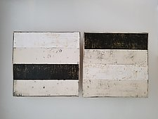 Pair in Black, White, and Gold by Lori Katz (Ceramic Wall Sculpture)