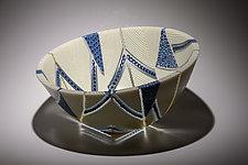 Arrows Bowl in Indigo and Cream by Patti & Dave Hegland (Art Glass Bowl)
