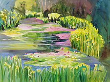 Pond with Water Iris by Sandra Humphries (Acrylic Paintings)