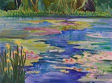 Waterlilies and Iris by Sandra Humphries (Acrylic Painting)