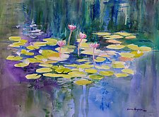 Morning Pond 2 by Sandra Humphries (Acrylic Painting)