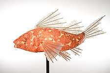 Copper Coral Koi Light Sculpture by Lara Fisher (Mixed-Media Lamp)