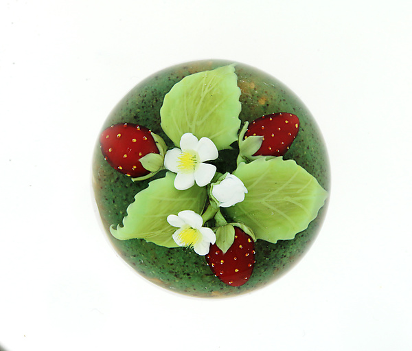 Strawberries and Blossoms Miniature Paperweight