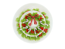 Christmas Wreath with Candy Canes by Clinton Smith (Art Glass Paperweight)