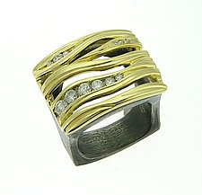 Diamond Wave Ring by Leann Feldt (Gold, Silver & Stone Ring)