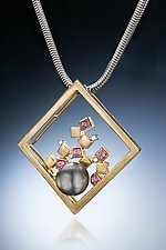 Tahitian Pearl and Gold Pendant by Leann Feldt (Gold, Stone & Pearl Necklace)