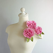 Brooch Peony in Pink by Mila Sherrer  (Silk & Wool Brooch)