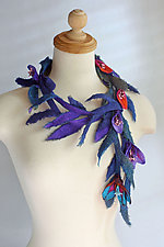 Blossom Lariat in Purples by Mila Sherrer  (Felted Necklace)