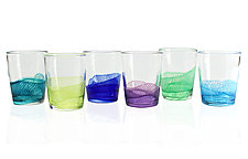 Color Splash Double Old Fashioned Glasses by Frost Glass (Art Glass Drinkware)