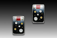 Black and Red Circles Earrings by Anna Tai (Enameled Earrings)