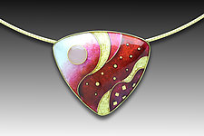 Red Monochrome Pendant by Anna Tai (Enameled Necklace)