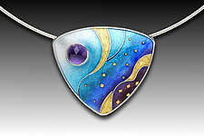 Blue Monochrome Pendant by Anna Tai (Enameled Necklace)