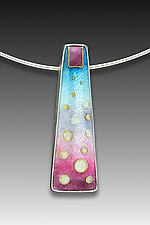 Blue and Pink Circles Pendant by Anna Tai (Enameled Necklace)