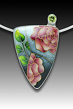 Pink Rose Pendant by Anna Tai (Enameled Necklace)