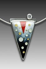 Black and Red Circles Pendant by Anna Tai (Enameled Necklace)