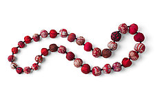 Vintage Silk Long Necklace in Red by Mieko Mintz  (Silk Necklace)
