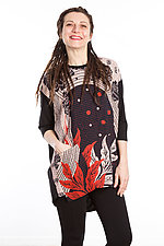 Crew Neck Pocket Tunic #7 by Mieko Mintz  (One Size (2-14), Cotton/Rayon Tunic)