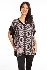 V-Neck Pocket Tunic #2 by Mieko Mintz  (One Size (2-14), Cotton/Rayon Tunic)