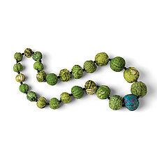 Vintage Silk Necklace in Green by Mieko Mintz  (Silk Necklace)