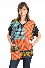 V-Neck Pocket Tunic #5 by Mieko Mintz  (One Size (2-14), Cotton/Rayon Tunic)