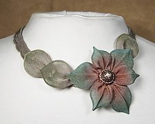 6-Petal Flower Necklace with Leaves by Sarah Cavender (Metal Necklace)
