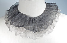 Double Ruffle Collar of Wire Knit by Sarah Cavender (Silver Necklace)