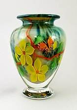 Multi-Color Floral Vase by Mayauel Ward (Art Glass Vase)