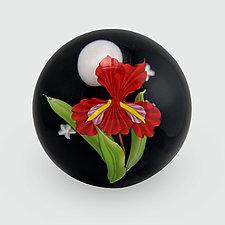 Red Iris Paperweight by Mayauel Ward (Art Glass Paperweight)