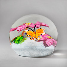 Orange Butterfly in Clear Iridescent by Mayauel Ward (Art Glass Paperweight)