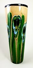 Latte Vase with Blue and Green Pansies by Mayauel Ward (Glass Vase)