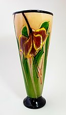 Latte Vase with Yellow Fuchsias by Mayauel Ward (Glass Vase)