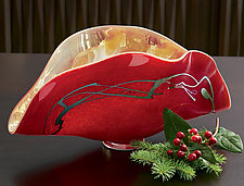 Red Clam Vase by Mayauel Ward (Art Glass Vase)