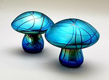 Blue Iridescent Mushroom by Mayauel Ward (Art Glass Paperweight)