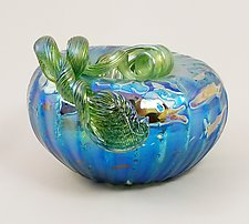 Blue Iridescent Pumpkin by Mayauel Ward (Art Glass Paperweight)