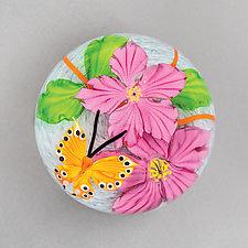 Orange Butterfly in Gray Iridescent by Mayauel Ward (Art Glass Paperweight)