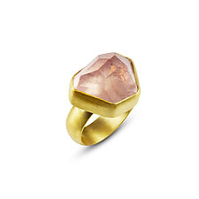 Chunky Rose Quartz Ring by Nancy Troske (Gold & Stone Ring)