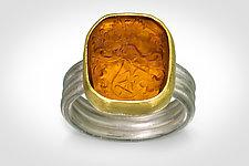 Ancient Symbols Intaglio Ring by Nancy Troske (Gold, Silver & Glass Ring)