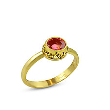 Pink Tourmaline Granulated Ring by Nancy Troske (Gold & Stone Ring)